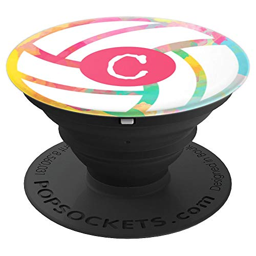(Volleyball Pastel Girl's Name Initial Letter C - PopSockets Grip and Stand for Phones and Tablets)