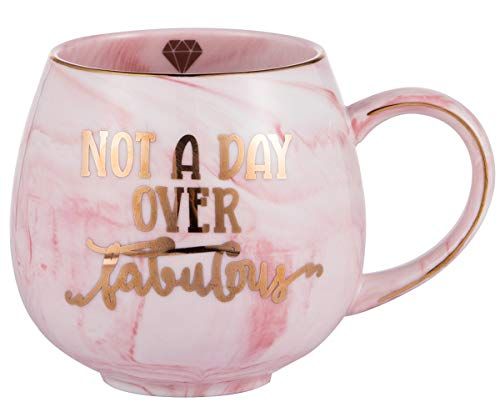Birthday Gifts for Women | Not a Day Over Fabulous Ceramic Marble Mug | Gifts for Women, BFF, Best Friends, Coworkers, Her, Wife, Mom, Daughter, Sister, Aunt | Pink Ceramic Marble Mug 15 oz ()
