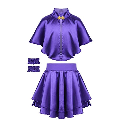 FEESHOW Kids Girls Greatest Showman Anne Wheeler Costume Halloween Party Cosplay Role Play Cape Top with Skirt Gloves Set Purple -
