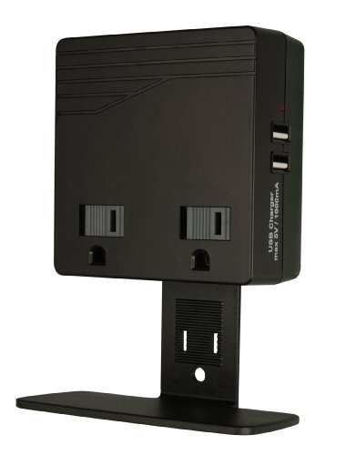 Woods 041050 USB Charger Combo 2-Outlet Surge Protector, Black, 450 Joules of Protection by Woods