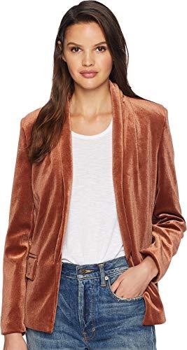 re Women's Velvet Shawl Collar Blazer Rust Small ()