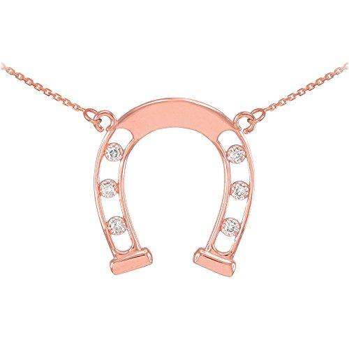 Collier Femme Pendentif 14 ct Or Rose Bonne Chance Fer A Cheval (Livré avec une 45cm Chaîne) avec Diamants