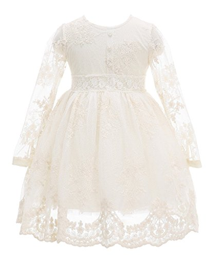 Bow Dream Flower Girl Dress Vintage Lace Cream Ivory 8