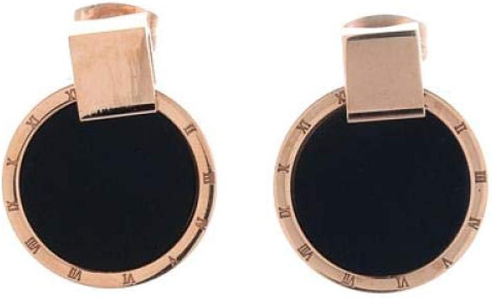 Pendientes de piedras preciosas negras con incrustaciones, acero de titanio, círculo simple, oro rosa, pendientes, modelos femeninos de joyería, 1,6 cm.