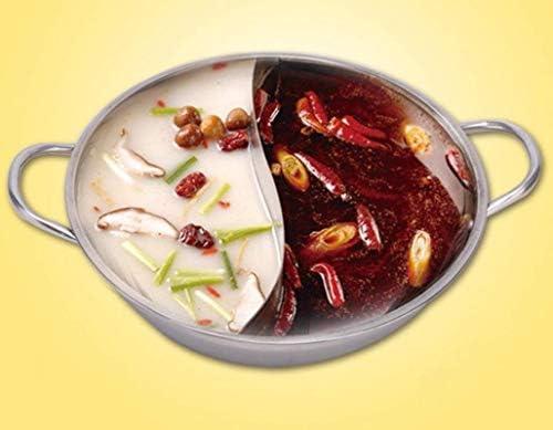 Cuisinière Hot Pot, Canard Mandarin Pot, Cuisine Casserole soupe outil de cuisson, 2 Grille 2 Goût 34cm en acier inoxydable Hot Pot, avec couvercle en verre (34cm)