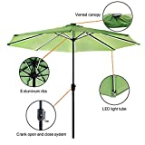 Garden Art Outdoor Patio Umbrella Solar LED Lighted 9Ft with USB Charging Function Market Umbrellas 8 Ribs