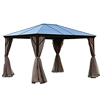 ALEKO GZBHR01 Aluminum Hardtop Gazebo Canopy with Removable Netting Mesh Walls 10 x 12 x 9 Feet Brown