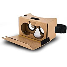 Goswot Cardboard V2.0 3D Virtual Reality Cardboard Complete Kit for Google Cardboard with Head Strap for Android & Apple 3-6 inch Screen