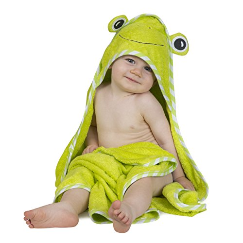 Luxury Hooded Baby Bath Towel & Washcloth Set(Green Frog)| Extra Soft Bamboo Baby Towels for Infant Toddler Newborn & Kids| Great Gift for Boys Girls for Pool & Beach | (Frog Bath)