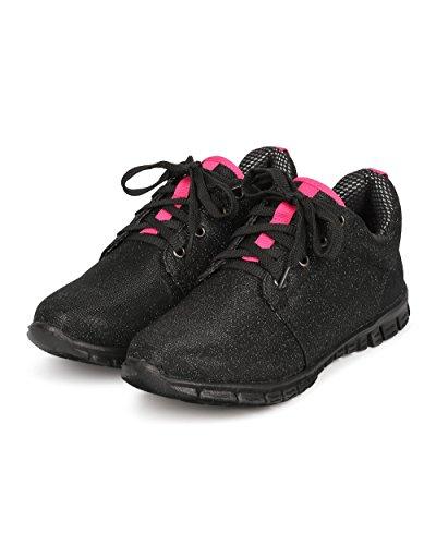 Natur Bris Cf72 Kvinner Glitter Shimmer Snøring Lett Kryss Trening Sneaker - Svart Svart