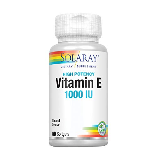 Solaray® Vitamin E, d-Alpha Tocopherol 1000IU | for Healthy Cardiac Function, Antioxidant Activity & Skin Health Support | Lab Verified | 60 Softgels