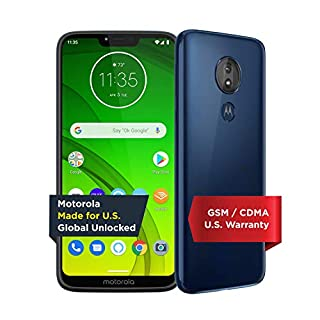 Moto G7 Power with Alexa Push-to-Talk – Unlocked – 32 GB – Marine Blue (US Warranty) – Verizon, AT&T, T–Mobile, Sprint, Boost, Cricket, & Metro