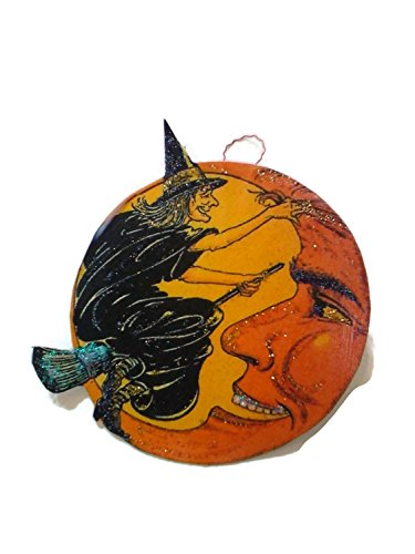 Halloween Ornament Decoration Black Witch Smiling Orange Moon -