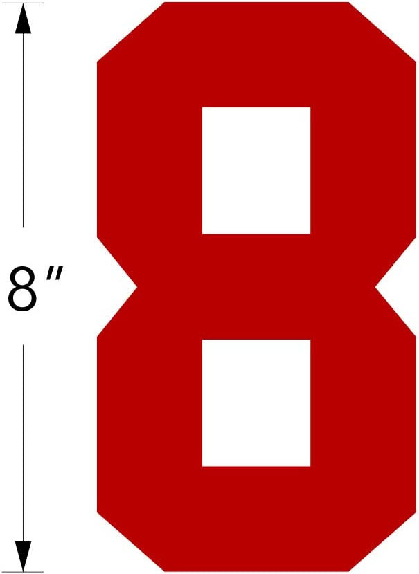 0-9 Heat Transfer ,8 Tall for Sports T-Shirt Jersey Football Baseball,Iron On Red Style A Numbers Kit 0-9 Team,t-Shirt