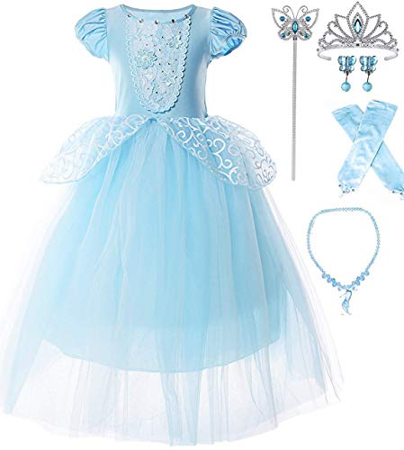 Cinderella Child Costume (Romy's Collection Blue Cinderella Princess Party Dress with Accessories)