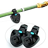 TIANG LED Fish Bait Alarm with Sound Alert/2 Pack Electronic Fishing Bait Alarms for Fishing Rod
