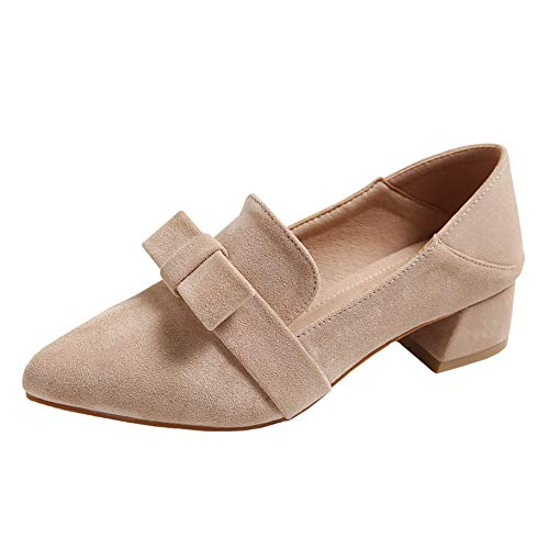 pointed thick Spring fashion mouth sweet EU shallow bow autumn shoes single work 37 with casual FLYRCX and heel shoes FqC0wq8