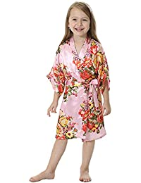 Girl s Satin Floral Kimono Flower Girl Getting Ready Robe For Wedding 3b595aed8