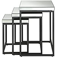 OSP Designs Krystal 3-Piece Square Mirror Nesting Tables