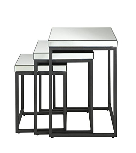 OSP Designs Krystal 3-Piece Square Mirror Nesting Tables by OSP Designs