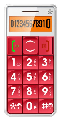 JUST5 J509 Easy to Use Unlocked Cell Phone with Big Buttons, Amplified Sound, Personal Emergency Response System (Red)