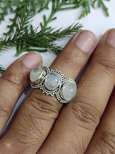 Boho Hippie Gemstone Ring Handmade Healing Crystal Silver Rings Unique Gift