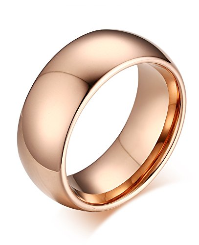 Men Women Tungsten Carbide Plain Wedding Band Promise Engagement Ring,Rose Gold Plated,8mm Width,Size 7 from VNOX