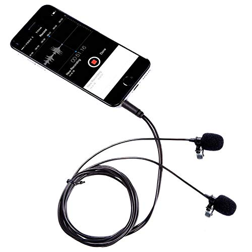 Movo PM20 Dual Lavalier Microphone - Lapel Microphone Compatible with Apple iPhone
