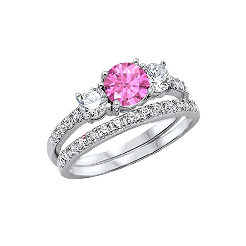 (Blue Apple Co. 3-Stone Wedding Bridal Set Ring Band Round Simulated Pink CZ 925 Sterling Silver, Size-6)