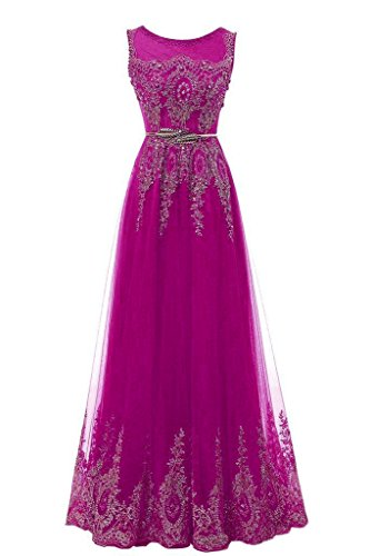 YSMei Women's Long Gold Lace Wedding Celebrity Guest Dresses Beads Prom Formal Gowns A-line Fuchsia 10