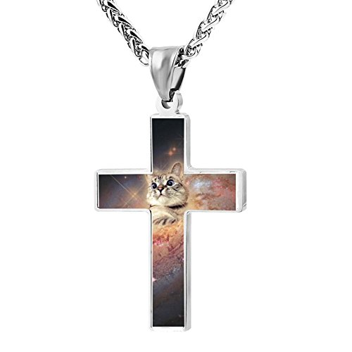 Gjghsj2 Cross Necklace Pendant Religious Jewelry Cat In Space For Men Wome -