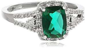 10k White Gold Cushion Created Emerald with Round Diamond Ring, Size 7