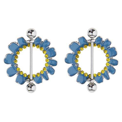 2pcs Round Flower 4 Styles Nipple Shield Ring Body Stainless Steel Bars 14g 16g (Pattern Gauge - Daisy Flower Blue 16g) ()