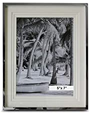 WHW Whole House Worlds Crosby Street Classic Photo Frame, Silver Aluminum, Triple Beveled Matte, for 6 x 8 Inch Prints, Overall Size is 7 1/4 W x 9 1/2 H Inches, Velvet Back, Swing Out Stand