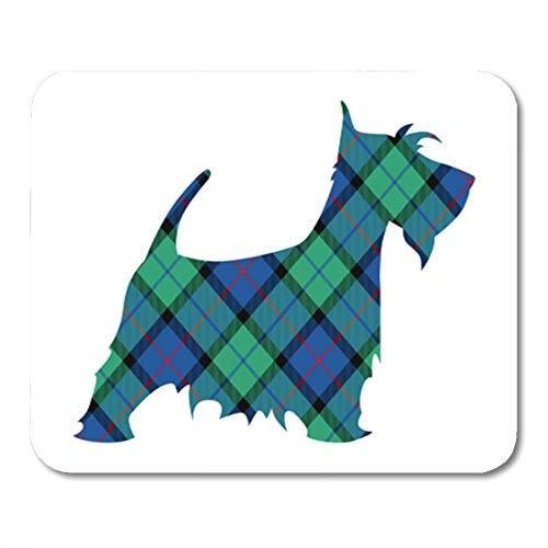 Semtomn Gaming Mouse Pad Blue Animal Scotch Terrier Tartan National Pattern Flower of Scotland Green Dog 9.5