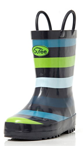Outee Toddler Kids Rain Boots Rubber Waterproof Shoes Cute Printed with Easy-On Handles Red