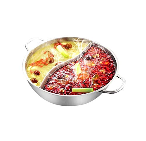 Hot Pot Stove - Yzakka Stainless Steel Shabu Hot Pot with Divider for for Induction Cooktop Gas Stove, 34 cm