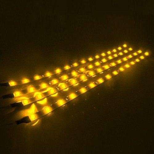 - 30cm LED Car Flexible Waterproof Light Strip Amber (Pack of 4)