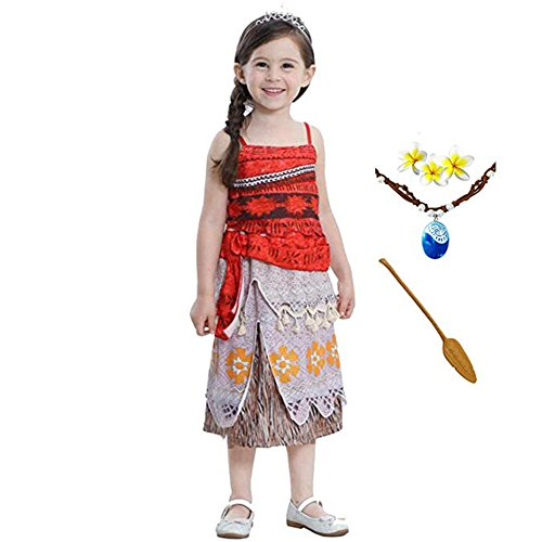 ROMASA Moana Girls Adventure Outfit Cosplay Costume Skirt with Necklace&flower (3.61ft)