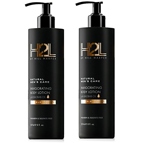 H2L Premium Natural Hydrating Body Lotion - With Shea Butter & Baobab, Jojoba, Argan Oil. Formulated to Nourish & Hydrate Skin. For Men By Hill Harper (2 Bottles) (Body Touch Butter)