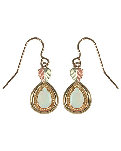 Opal Cabochon Teardrop Earrings, 10k Yellow Gold, 12k Green and Rose Gold Black Hills Gold Motif by Black Hills Gold Jewelry