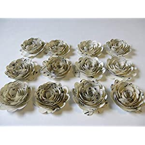 Scalloped Sheet Music Paper Flowers, 12 Roses, 1.5 Inch Rosettes, Music Theme Party Decor, Band Teacher Gift Idea 2