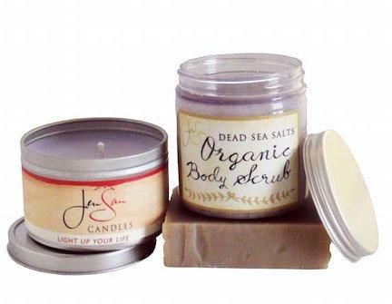 Jensan 3-piece Handmade Bath and Beauty Gift Set in Organza Bag (lavender candle - lavender scrub - lavender soap)