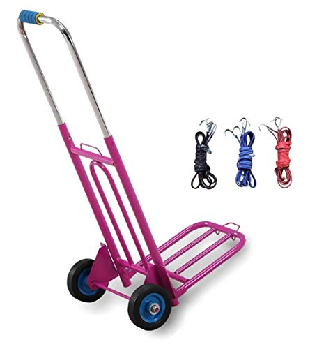 Wagons Hand Truck Pallet Integration Luggage Trolley Cart Collapsible Expansion Carry Cargo with 3 Bungee Cord, 3 Colors (Color : Rose red) ()