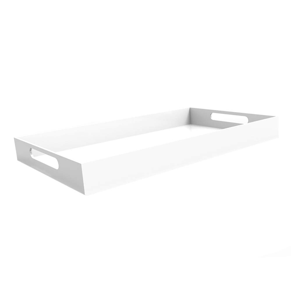 WHITE SERVING TRAY - Bright White - 20'' Large Acrylic Tray for Coffee Table, Breakfast, Tea, Food, Butler - Decorative Display, Countertop, Kitchen, Vanity Serve Tray with Handles by Vale Arbor