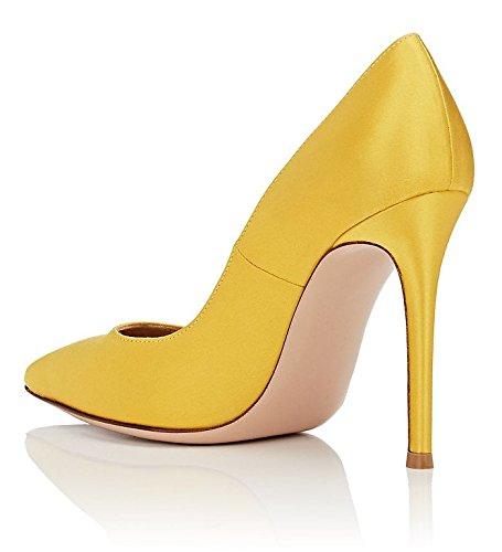 EDEFS Damen Pumps,Satin Brautschuhe,Spitze Schuhe for Party Horzeit Pumps Gelb