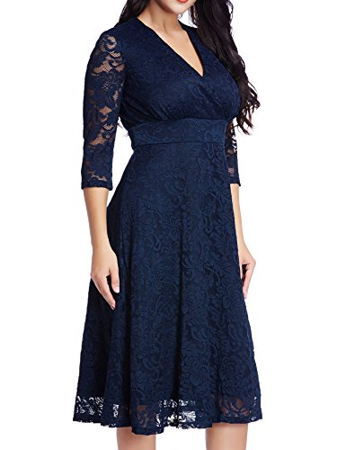 GRAPENT Women's Lace Plus Size Mother Of The Bride Skater Dress Bridal Wedding Party Navy 20W