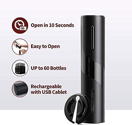 Mfshiye Sacacorchos eléctrico, 6 segundos, abridor de botellas de vino, abrebotellas inalámbrico, juego con cortador de papel y tapón de vacío y cable de carga USB