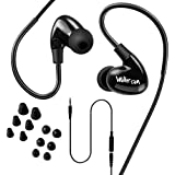 Walkercam WP1 IPX7 Waterproof in-Ear Earphones,Swimming Earbuds for Sports, Short Y Cord and 6 Pairs of Soft Earbud Tips, Black - 1 Year Replacement Warranty