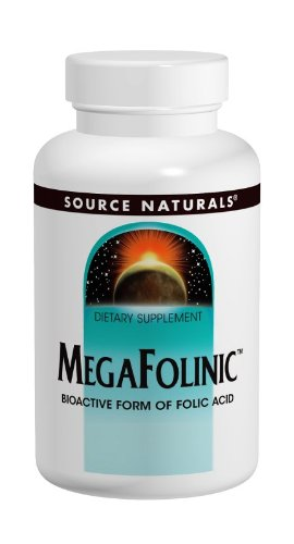 Source Naturals MegaFolinic 800mcg Bioactive Form of Folic Acid for Red Blood Cell Support - 120 - Acid Red